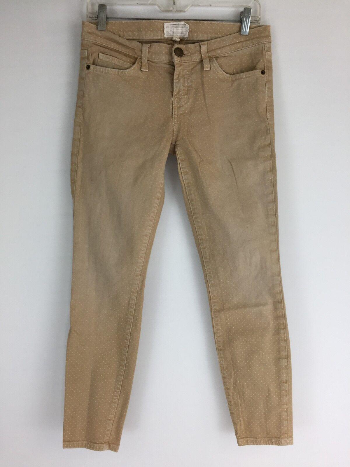 Current Elliott Womens Sz 27 Beige Ivory Mini Dots Slim Fit Skinny Jeans B57