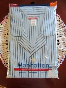 Vintage-Manhattan-Mens-Long-Sleeve-and-Leg-Pajamas-3X-Blue-Stripe-New-In-Package