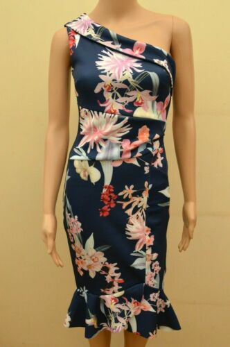 New Lipsy Navy Floral Amy One Shoulder Flute Hem Dress Sz UK 10