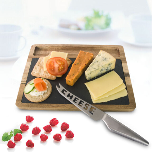 3 Piece Acacia Wood Natural Slate Food Cheese Board Slicer Set Gift Bulk Sale