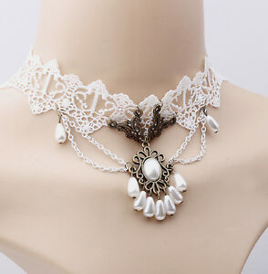 GORGEOUS-PEARL-FLORAL-CHOKER-WHITE-LACE-TEARDROP-PEDANT-BEST-GIFT-BRIDAL-CHOKER