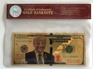 President-Donald-Trump-1000-Dollar-Bill-24K-Gold-3D-Overlay-With-COA
