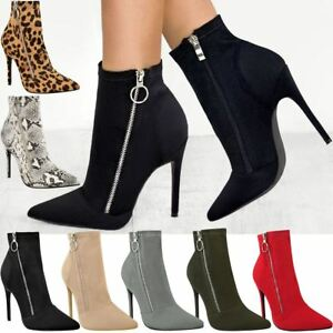 6f296ae75c0 Details about Womens Ladies Black High Heel Stilettos Ankle Boots Smart  Sexy Zip Up Shoes Size