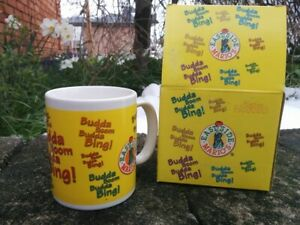 EAST SIDE MARIO'S Yellow Coffee Mug MOTHER PARKER'S Budda Boom NEW OLD STOCK BOX