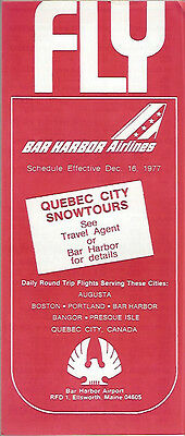 buy 2 Get 1 Free Bar Harbor Airlines System Timetable 12/16/77 6011