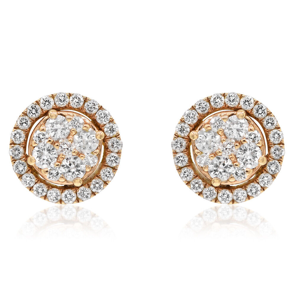 18K pink gold .75C PAVE ROUND DIAMOND HALO CLUSTER STUD STUDS EARRINGS