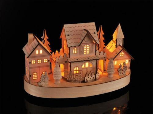Holz LED Weihnachtsstadt mit Zug Weihnachtsdorf beleuchtet Lichter Haus Bahn