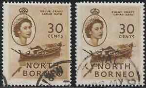 NORTH-BORNEO-1954-QE-II-PICTORIAL-DEFINITIVE-30cX2-FINE-USED