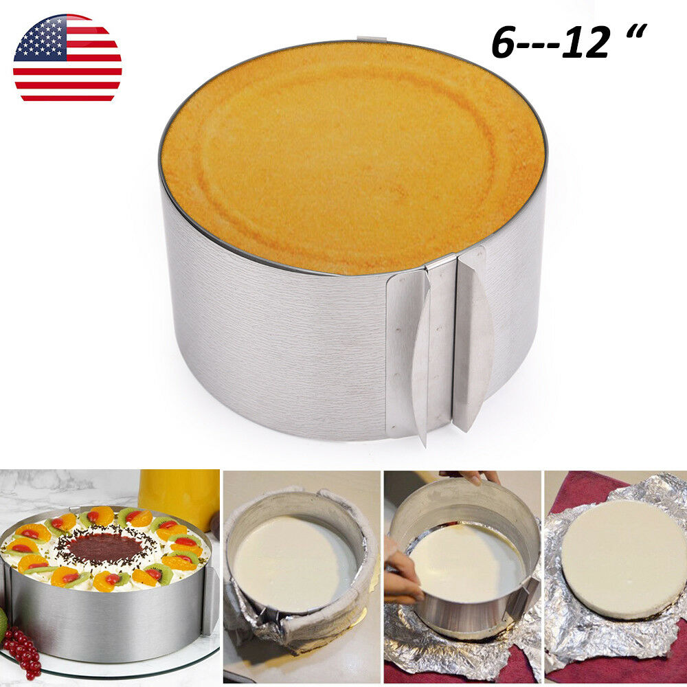 "Adjustable Round Cake Mold Bread Toast DIY Baking Mould Tool for 6-12"" Cake 2"