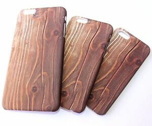 for-iPhone-5S-6S-6-Plus-Hard-Plastic-Brown-Wood-Snap-On-Skin-Case-Cover