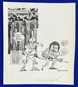 1980s-Patriots-vs-Jets-Tony-Collins-034-Forest-Primeval-034-16x18-Orignal-Cartoon-Art
