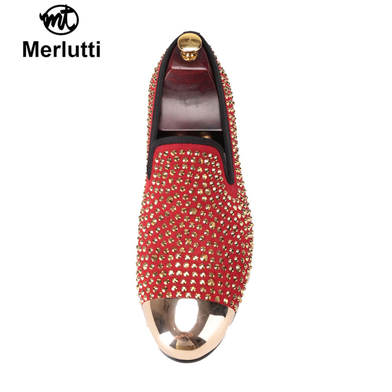 Merlutti Gold Toe And Gold Crystals Crystals Crystals rot Suede schuhe 21c685