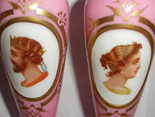 Exquisite Antique 19th Pair Moser Bohemian pink glass vases cameo portrait