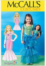 Mccall's 7175 patrón de costura para hacer Sirena Disfraz Para Niños De Edades 3-8 & Doll