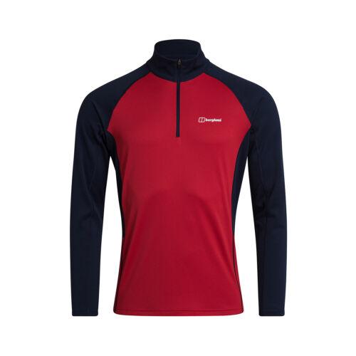Berghaus Tech 2.0 1//2 Zip pour Homme à Manches Longues Base Outdoor T-shirt rouge//bleu
