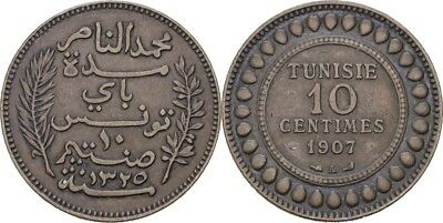 10 Centimes 1907 A Tunesien Muhammad Al Nasir Bey, 1906-22 #heb166 Pure White And Translucent