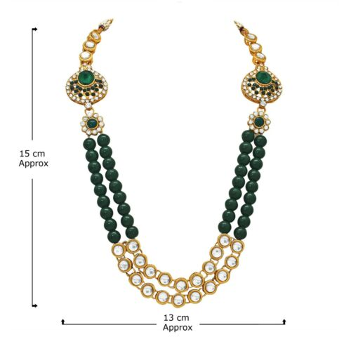 GREEN PEARL GOLD TONE INDIAN BOLLYWOOD STYLE GROOM ROYAL DULHA KUNDAN JEWELRY