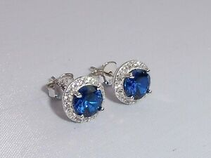 Ladies-Sterling-925-Solid-Fine-Silver-Blue-and-White-Sapphire-Cluster-Earrings