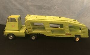 Vintage Tonka Light Green Car Steel Toy Carrier and Semi-Hauler Truck & Trailer