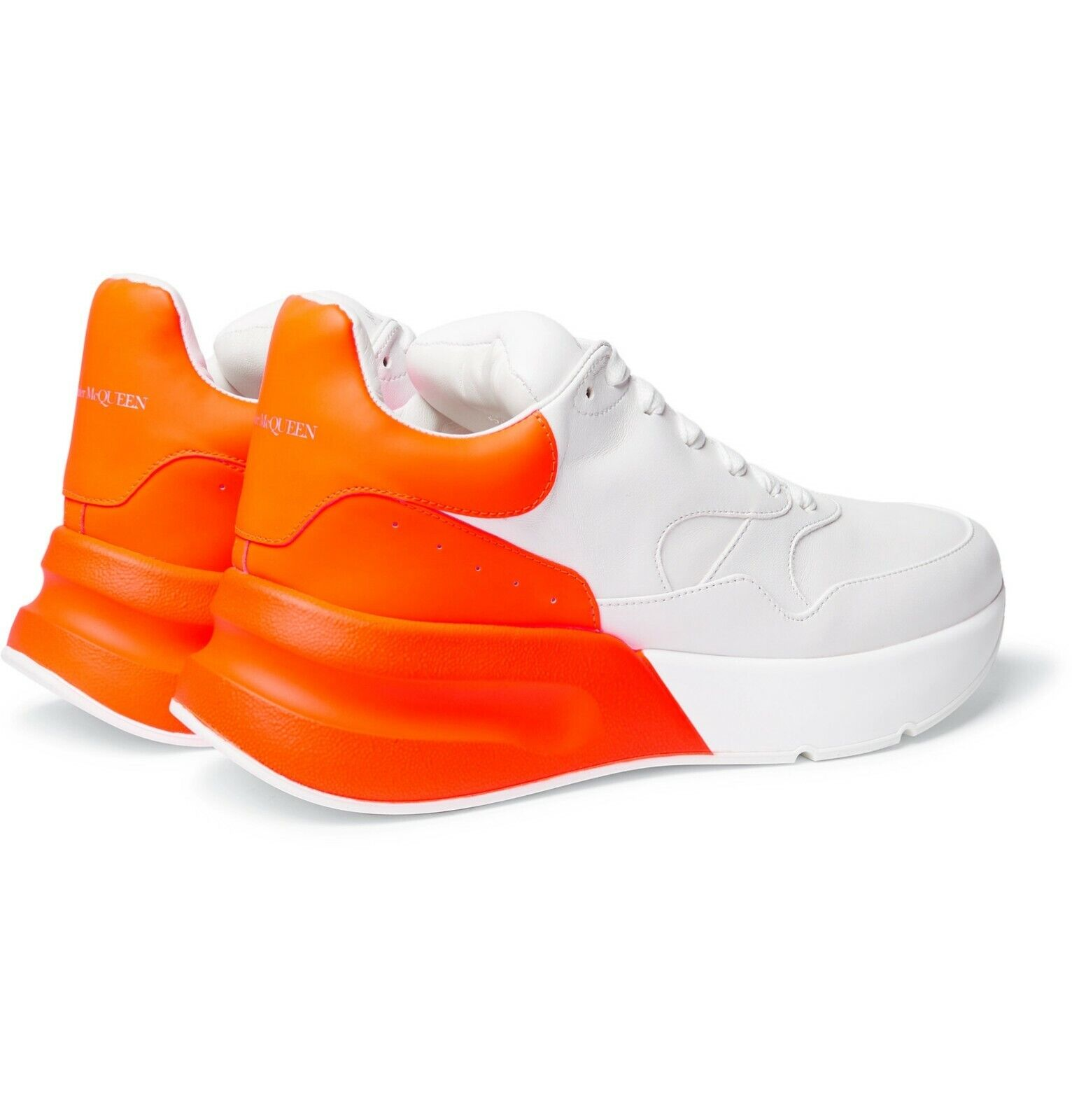 ALEXANDER MCQUEEN EXAGGERATED-Sole Fluorescent Cuir paniers Taille UK10.5