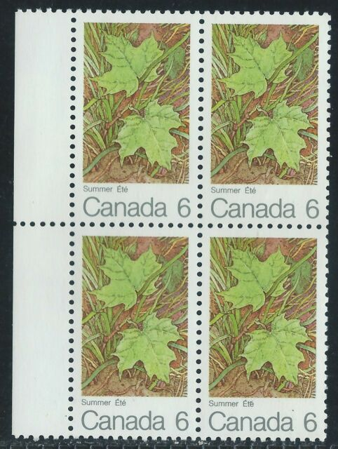Canada #536(2) 1971 6 cent MAPLE LEAVES - SUMMER MARGIN BLOCK OF 4 MNH