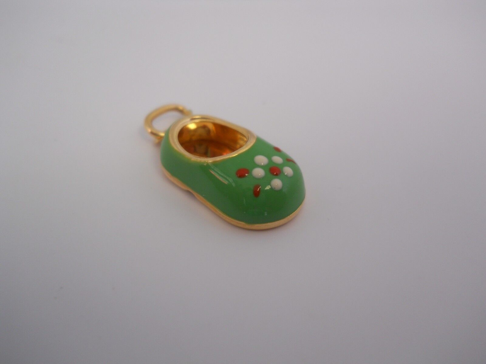14K Yellow gold & Enameled Baby Bootie shoes Charm Pendant-Green W  Flower