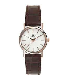 Bulova Women's 98V31 Quartz White Dial Brown Leather Strap 25mm Watch