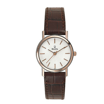 Bulova Women's 98V31 Quartz White Dial Brown Leather Strap Watch
