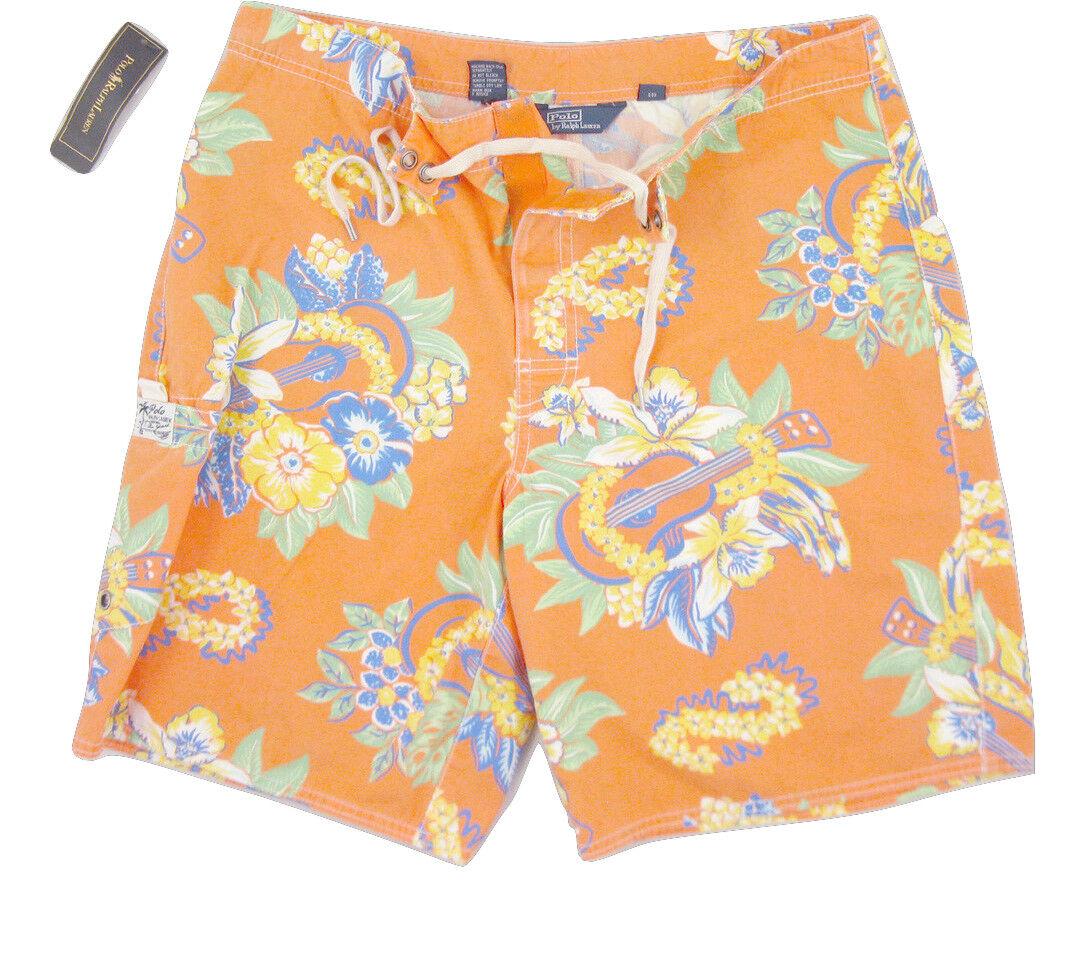 NEW  Polo Ralph Lauren Swim Shorts (Bathing Suit)   40  orange Floral  Cotton