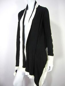 Details about BCBGMAXAZRIA Long Sleeve Drop Down Cardigan Sweater Cotton S Small Black