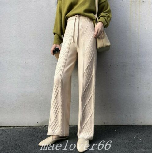 Womens Knitted Cashmere Blend Wide Leg Long Pants Trousers Straight Free Size