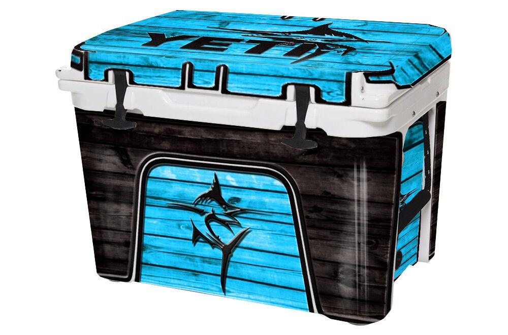 Kit Completo Abrigo De Piel Gráfico encaja refrigerador Yeti 45qt-venta-Marlin azul Wd