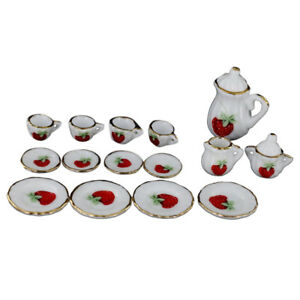 1-12-Dollhouse-Miniature-Dining-Ware-Porcelain-Tea-Set-15pc-Strawberry-T9I8