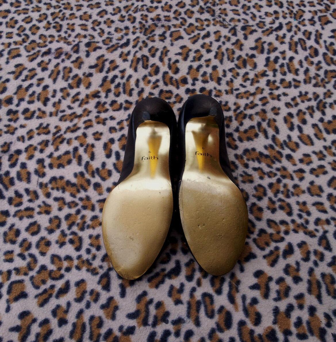 Faith schwarz Leder high heeled heeled heeled peep toe schuhe UK Größe 6 EU Größe 39 5cb667