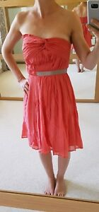 Details About Mango Coral Strapless Pleated Dress Size 8 Bnwt Summer Holiday Wedding Guest