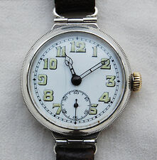 TRENCH WATCH – Screw Case - Hinged Lugs – Mens Wrist Watch –  Solid Silver -1915