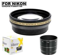 Xit 58mm 2.2x Telephoto Lens & Bower Adapter Tube For Nikon Coolpix P7000 P7100