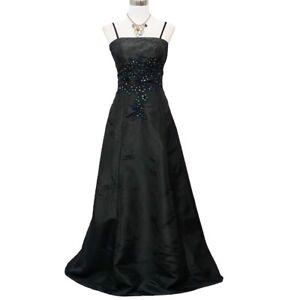 Robe De Soiree Noire Longue Brodee Avec Perles Taille 34 36 Ebay