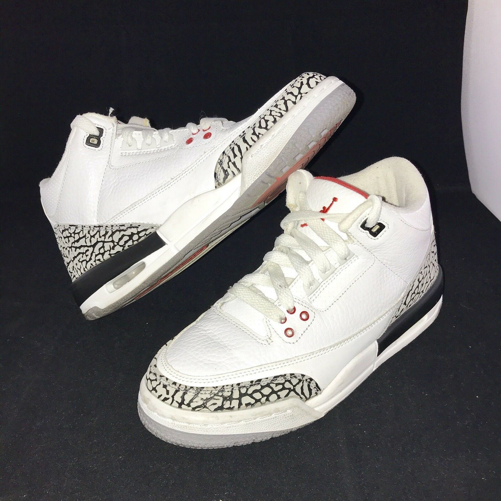 Nike Air Jordan III 3 Retro GS 1988 88 WHITE CEMENT GREY FIRE RED BLACK 5.5Y
