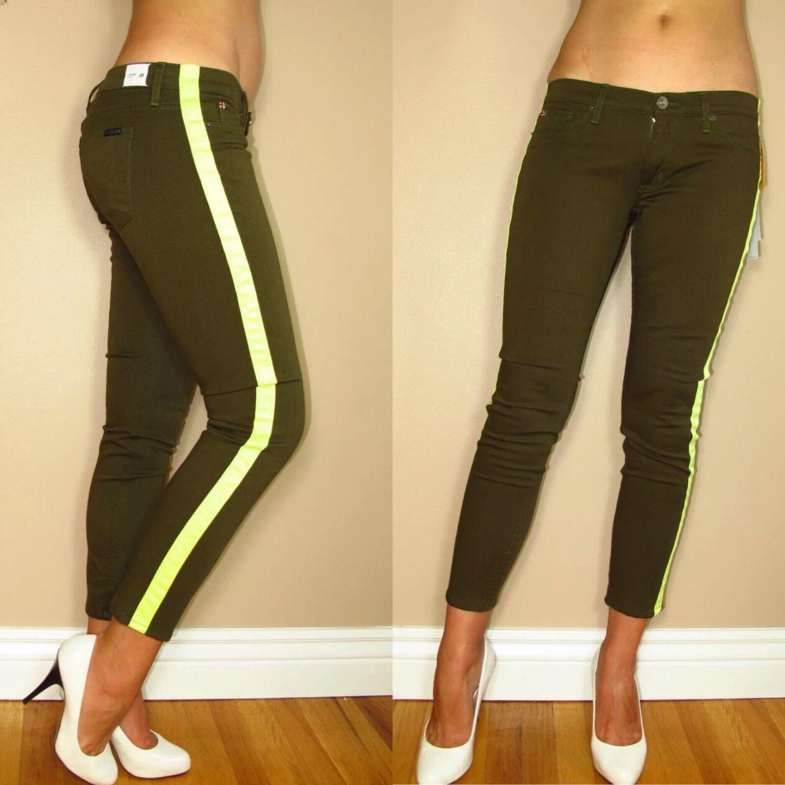 Hudson Loulou Tuxedo Green Chopin Skinny Crop Womens Jeans 24-29 Side Stripe