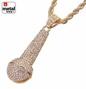 Men-039-s-Iced-Out-14K-Gold-Plated-Microphone-Pendant-30-034-Rope-Chain-Heavy-Necklace