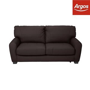Argos Home Stefano Leather / Leather Eff Sofabed - Chocolate
