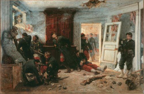 "9x6/"" Print Alphonse De Neuville The Last Cartridges 1873 Franco Prussian War"