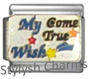 WISH-COME-TRUE-Enamel-Italian-Charm-9mm-1-x-NC113-Single-Bracelet-Link