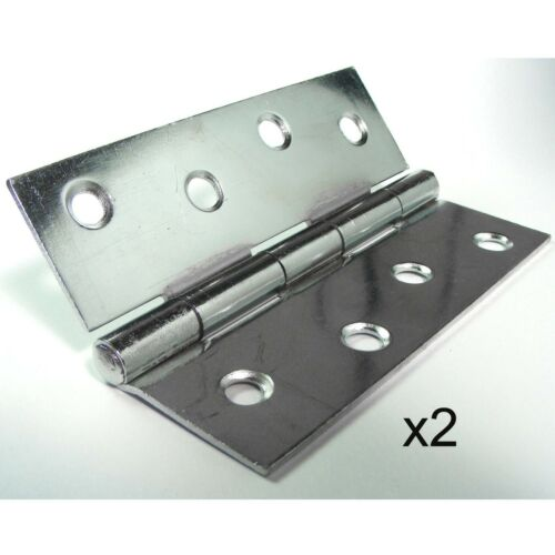 "2 CHROME 100mm DOOR BUTT HINGE Heavy Duty Fixed Pin 4/"" Inch Polished Finish"