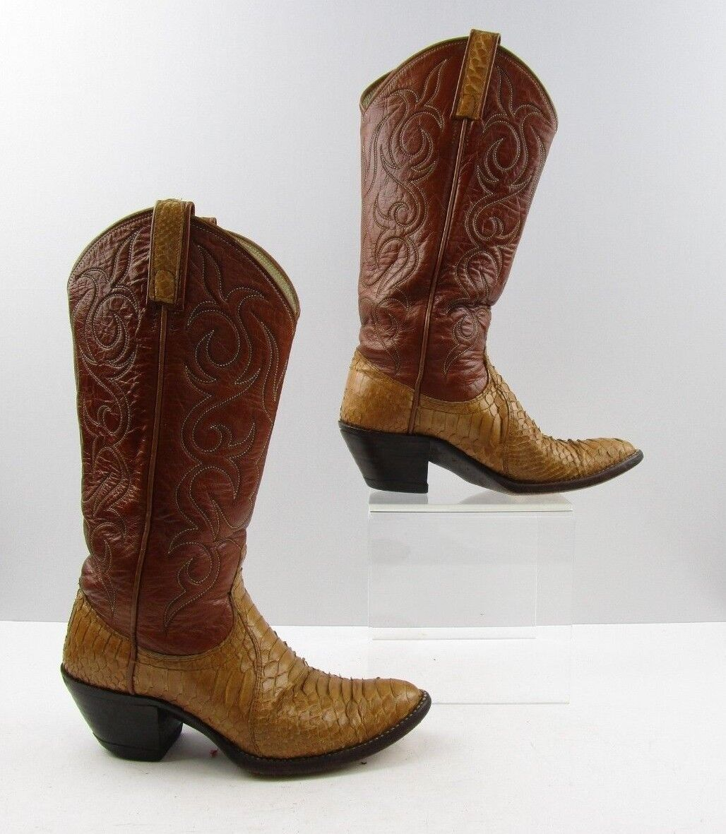 Ladies Dan Post Brown Snake Leather Cowboy Western Boots Size: 5.5 C *WIDE*