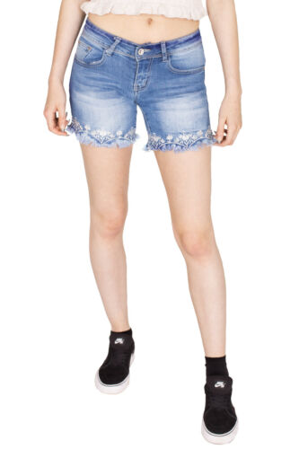 Womens Dneim Ripped Shorts Distressed Floral Beaded Mid Rise Jeans Hot Pants
