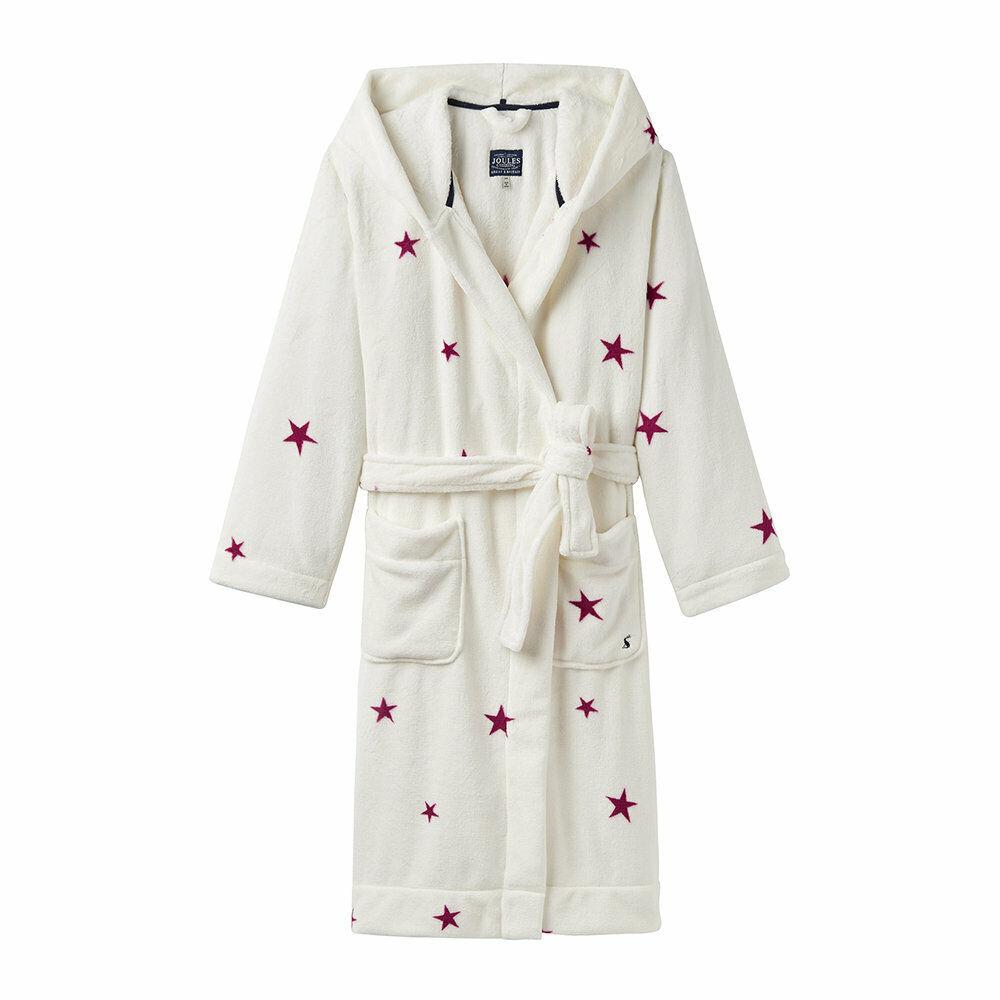 Joules Women's Dressing Gown Rita - Cream Stars - Size L   XL