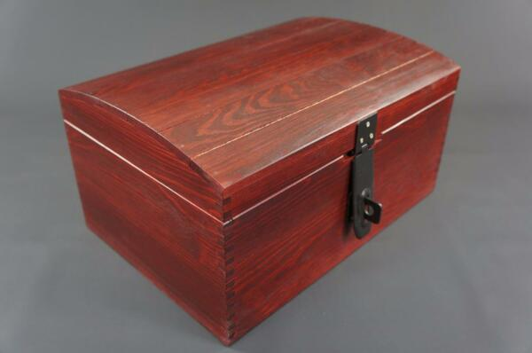 1 X Large Mahogany Wooden Box Trinket Keepsake Memory Treasure Chest (so22mml) Goede Warmteconservering