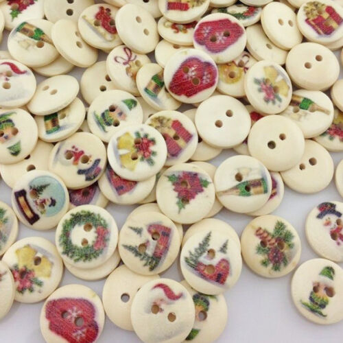 50pcs Merry Christmas Pattern Wooden Buttons Fit Sewing and Scrapbook 15mm WB13